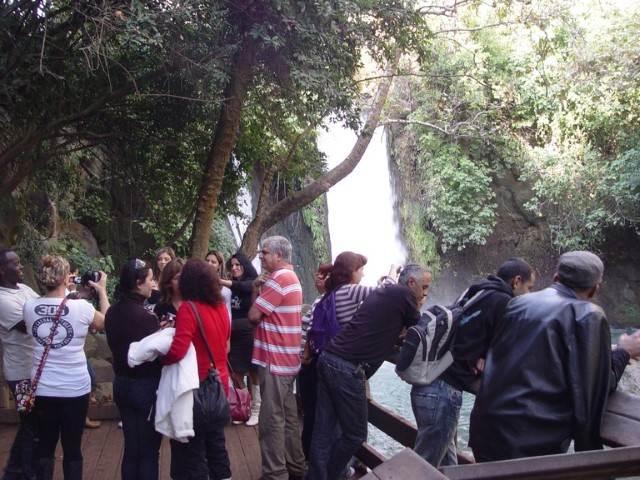 קבוצה מביטה במפלים